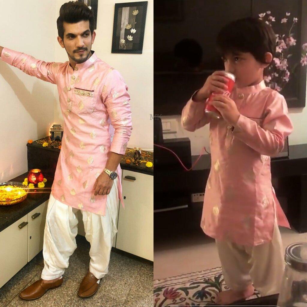 Omg...Babies are twinning  hayeee..Cuties in pink ..same to same  Xerox Copy  Its hard to decide..who is more cuter Cuteness overload Love you #Aryaan  @Thearjunbijlani #ayaanbijlani ..Happy Diwali  pic.twitter.com/nRMxTfI3WL