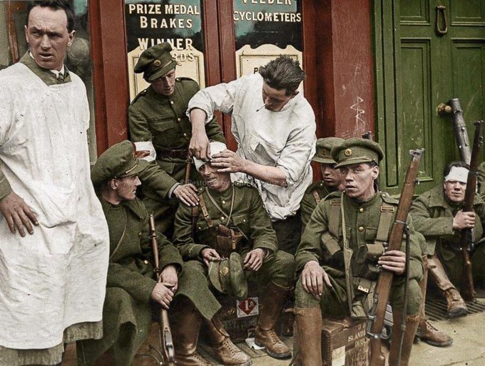 Free state soldiers getting tended to - Parliament Street, #Dublin, 1922 Photo