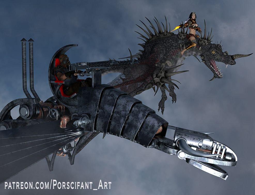 Dragon Battle  https://t.co/BiFo0mK1f0  #3d #3drender #digitalart #porscifant_art #3dart #cgiart #girl #beautiful #cgi #guy #scifi #scifiart #dragon #steampunk