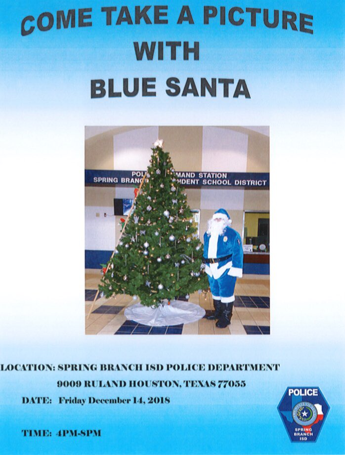 SBISD Police Dept On Twitter As The Holidays Are Approaching Theres No Better Way Than To Come Visit Blue Santa Hope See Everyone Here