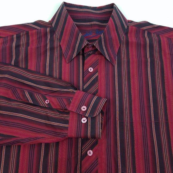 NWT $129 Shaped Fit Bugatchi  Shirt Sleeve Designer Shirt Navy XLarge