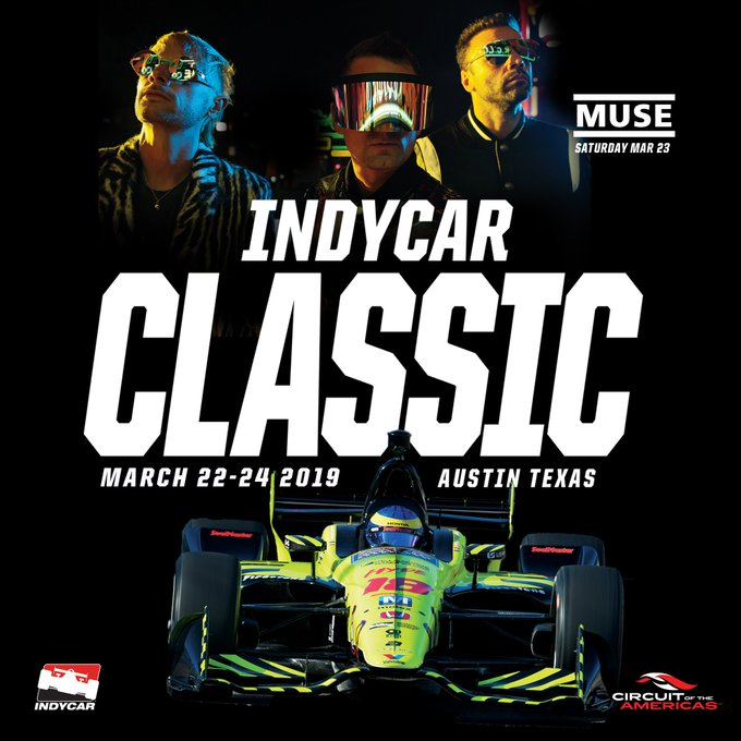 TEXAS! Muse are performing at the 1st ever @IndyCar Classic at Circuit of The Americas (@COTA) in Austin on 23 March 2019. Tickets available Wednesday 14 November at 10a CST. Details here 🏎️➡️ Photo