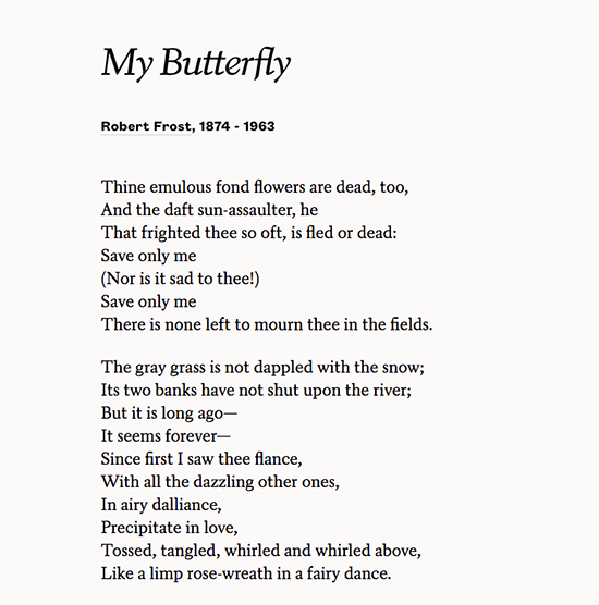 robert frost first poem my butterfly