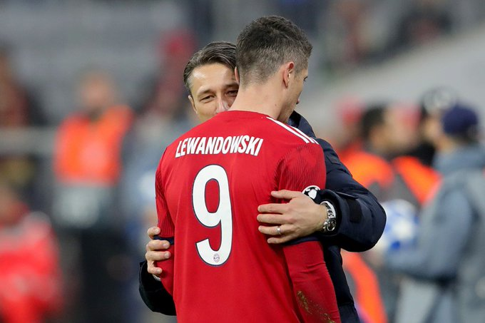 "Kovač: I'm happy for Lewandowski because he's a very important player for us. He had four chances and scored two, which is a good ratio."" Foto"