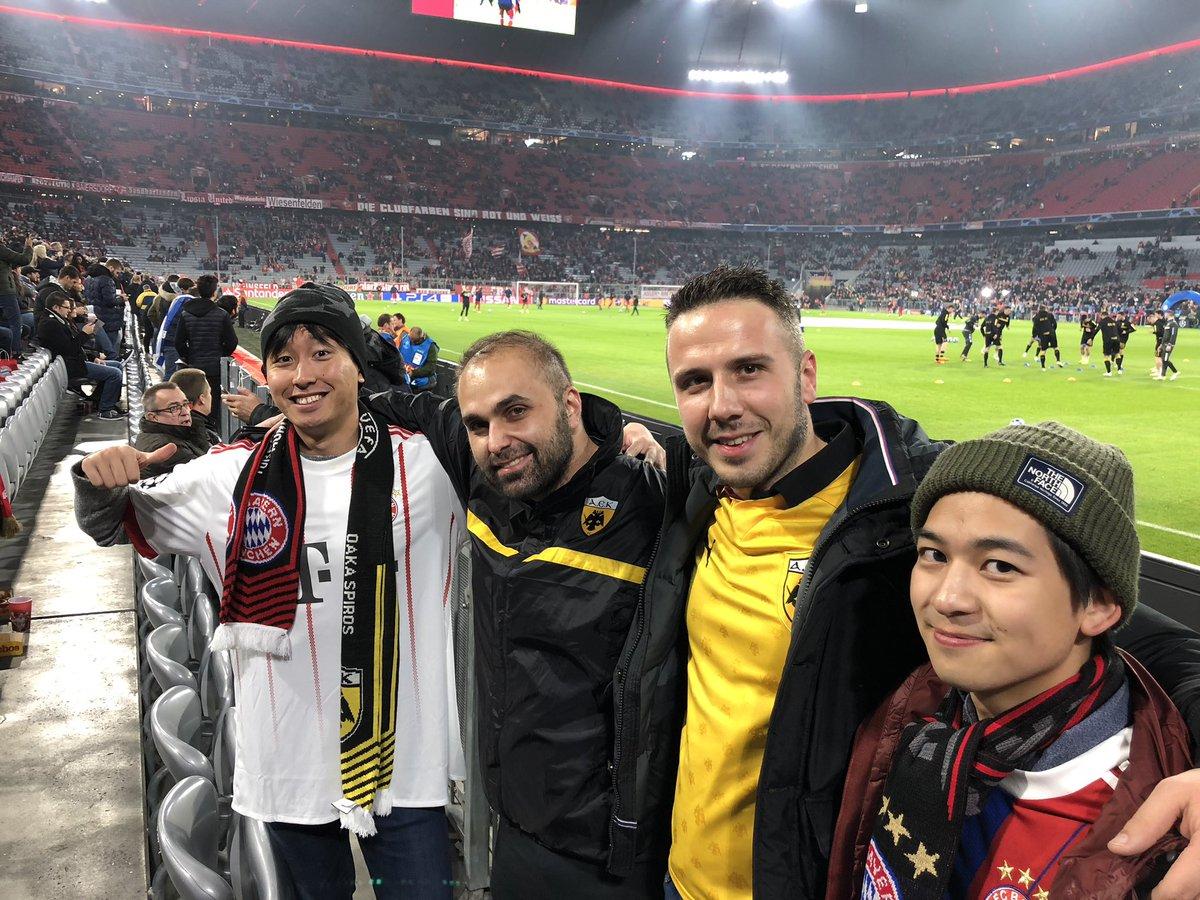 バイエルン勝利!初CLはめっちゃ興奮したね。AEKのサポーターと試合前からずっと話して楽しかったし とにかく今日は良い日だった😄 https://t.co/twSUoIHYwh