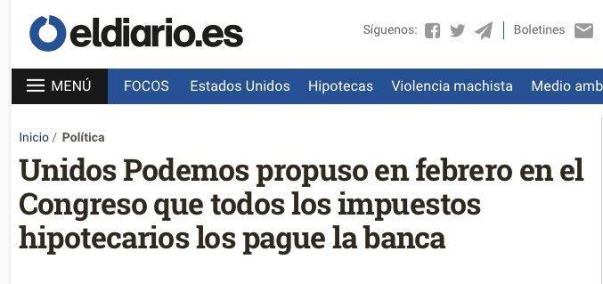 En febrero propusimos que todos los impuestos hipotecarios los pagase la banca. PP, PSOE y Cs votaron en contra. 9 meses despué Photo