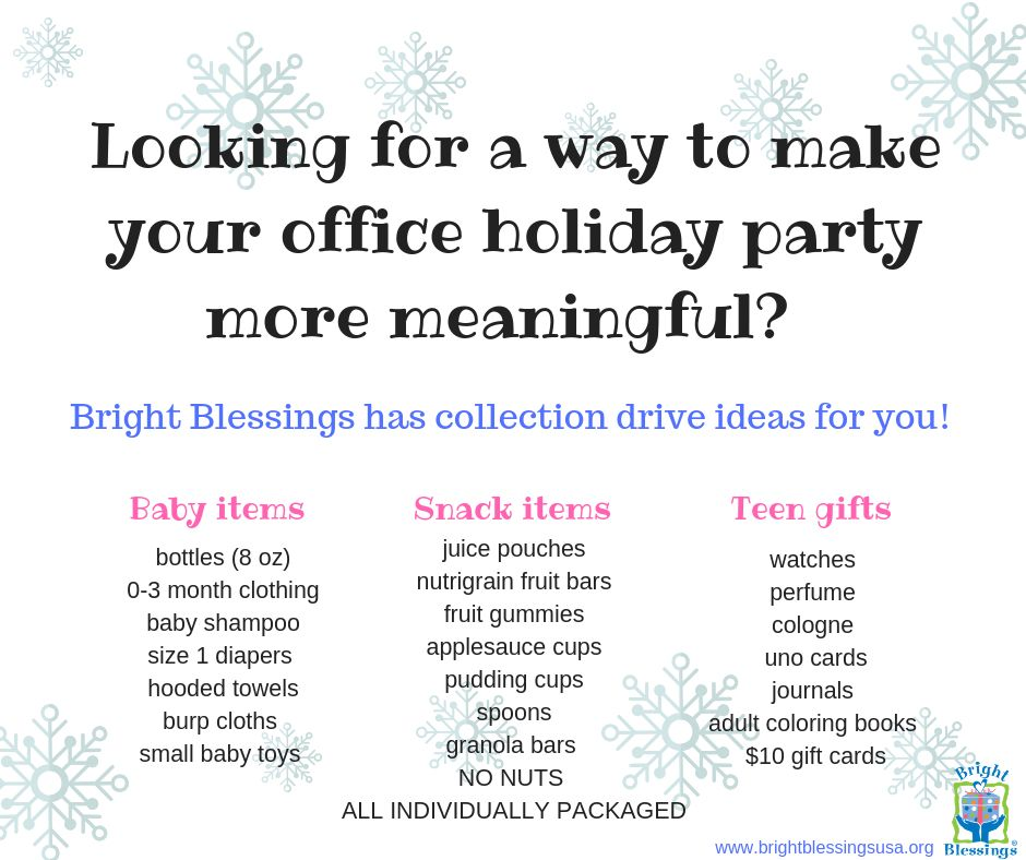 Bright Blessings On Twitter Party With A Purpose At Your Next Office Holiday Party Collect Items For Local Children In Need And Donate To Bright Blessings See Ideas Below Or Check Our