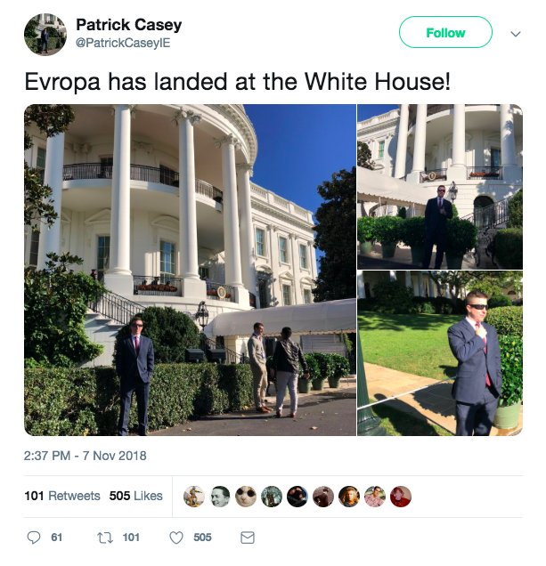 My Q was fair & timely.  Patrick Casey, executive director of Identity Evropa, which Southern Poverty Law Center says is part of the 'alt-right's' effort to recruit white, college-aged men and make them the 'new face of white nationalism,' tweeted that he was at the WH today.