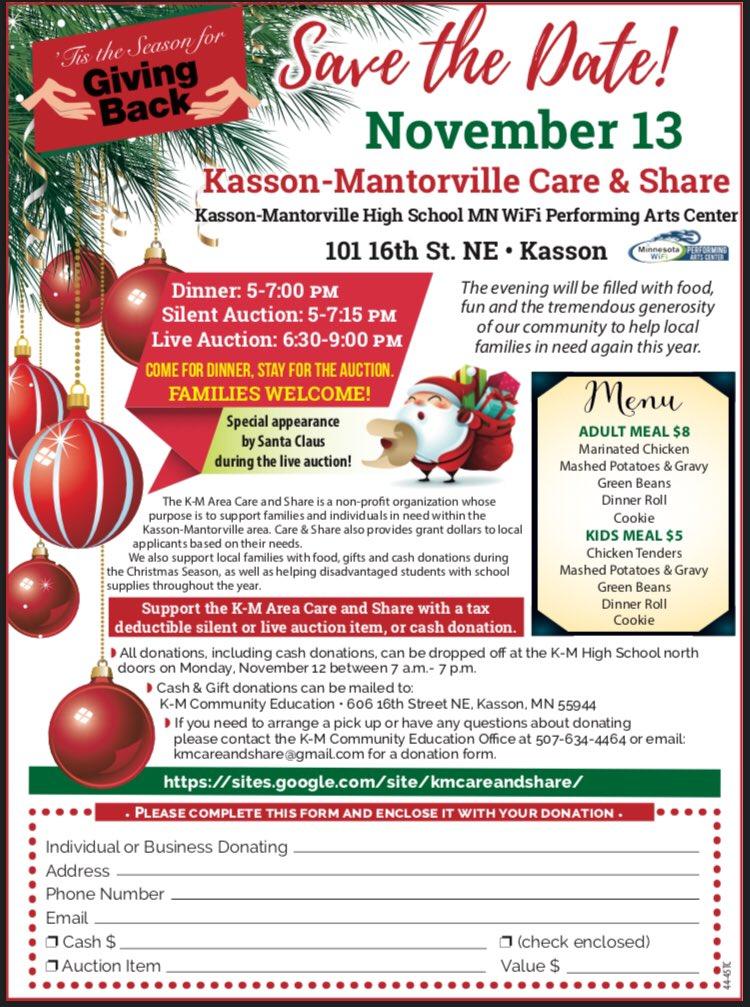 Don't miss it! Support the communities of Kasson and Mantorville at this charitable event. @MarkMatuska @KM_CommunityEd @KM_Activities @KMElem @KMeKyllo @KMKometsHS @Breakoebele @marlobungum