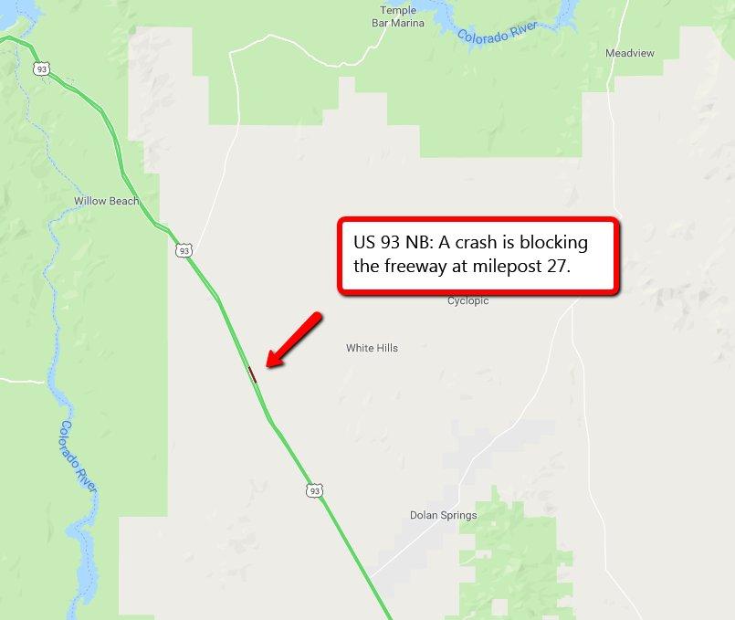 Arizona Dot On Twitter Us 93 Nb A Crash Is Blocking The Road At - Us-93-arizona-map