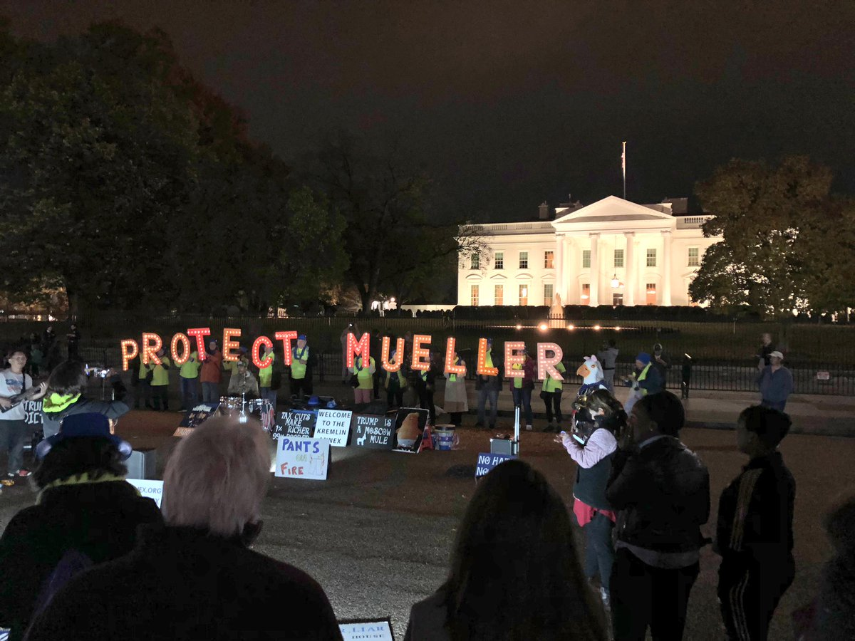 The scene in front of WH tonight...