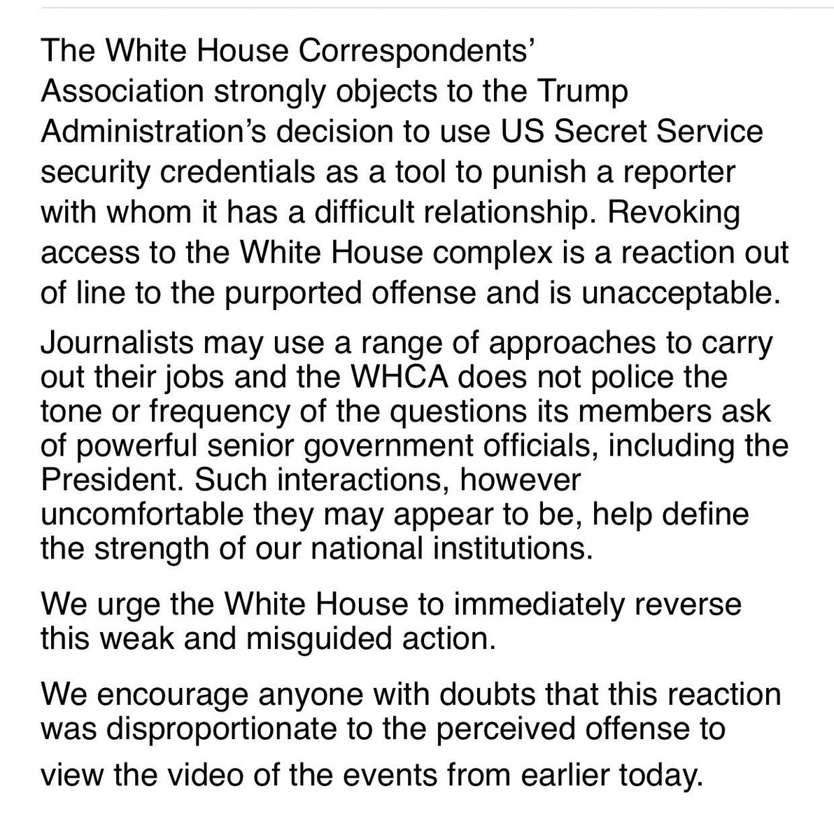 JUST RELEASED: The WH Correspondents' Association statement on the revocation of Jim Acosta's access to the White House complex.