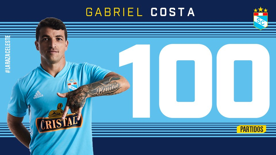 RT @ClubSCristal: ¡Felicitaciones Gabi!  Ya son 100 partidos jugando por el @ClubSCristal 💪🏽⚽️ https://t.co/xvUTmshSNB