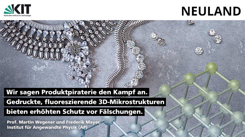Das @KITKarlsruhe und @ZEISS_Group sagen #Produktpiraterie den Kampf an. Gedruckte, fluoreszierende 3D-Mikrostrukturen bieten erhöhten Schutz vor Fälschungen.