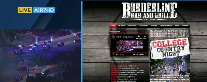 BUZZ BITES: UPDATE: Shooter at Boarderline Bar and Grill in Thousand oaks shot security guard, threw smoke bomb, and started Not known how many thought it was a joke. Photo