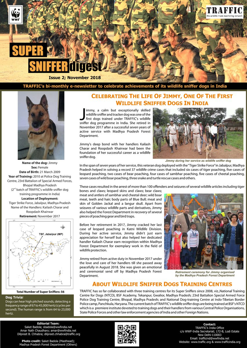 SUBSCRIBE, RT to support TRAFFIC's wildlife sniffer dogs. Download  http://awsassets.wwfindia.org/downloads/super_sniffer_digest_issue_2.pdf …