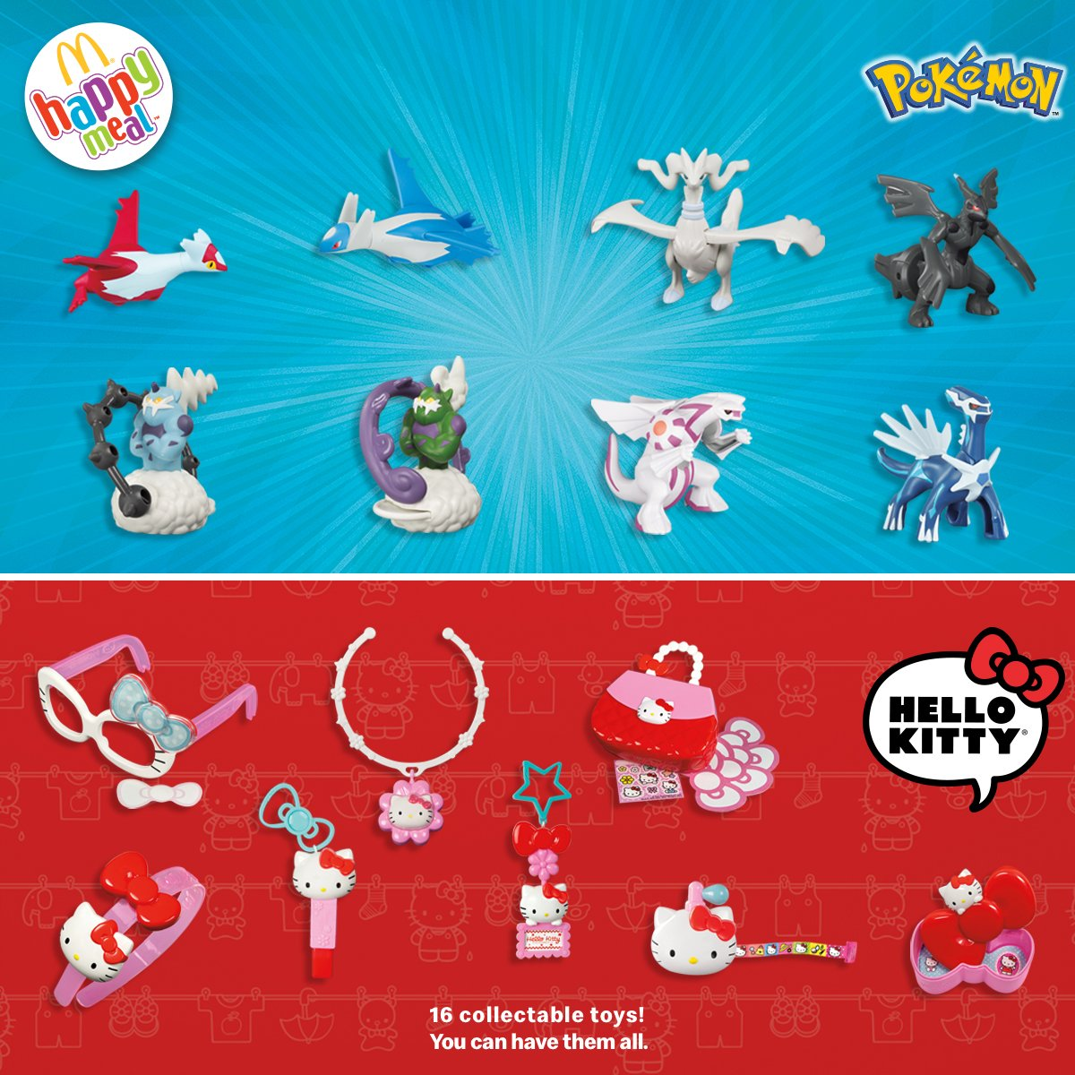 Yes, that's right - Pokémon and Hello Kitty are NOW available in your Happy Meal !  Pass by with your kids to have a good time. We are waiting for you !  #HappyMeal #Imlovinit #Pokemon #HelloKitty<br>http://pic.twitter.com/Bsu9CexsZ3