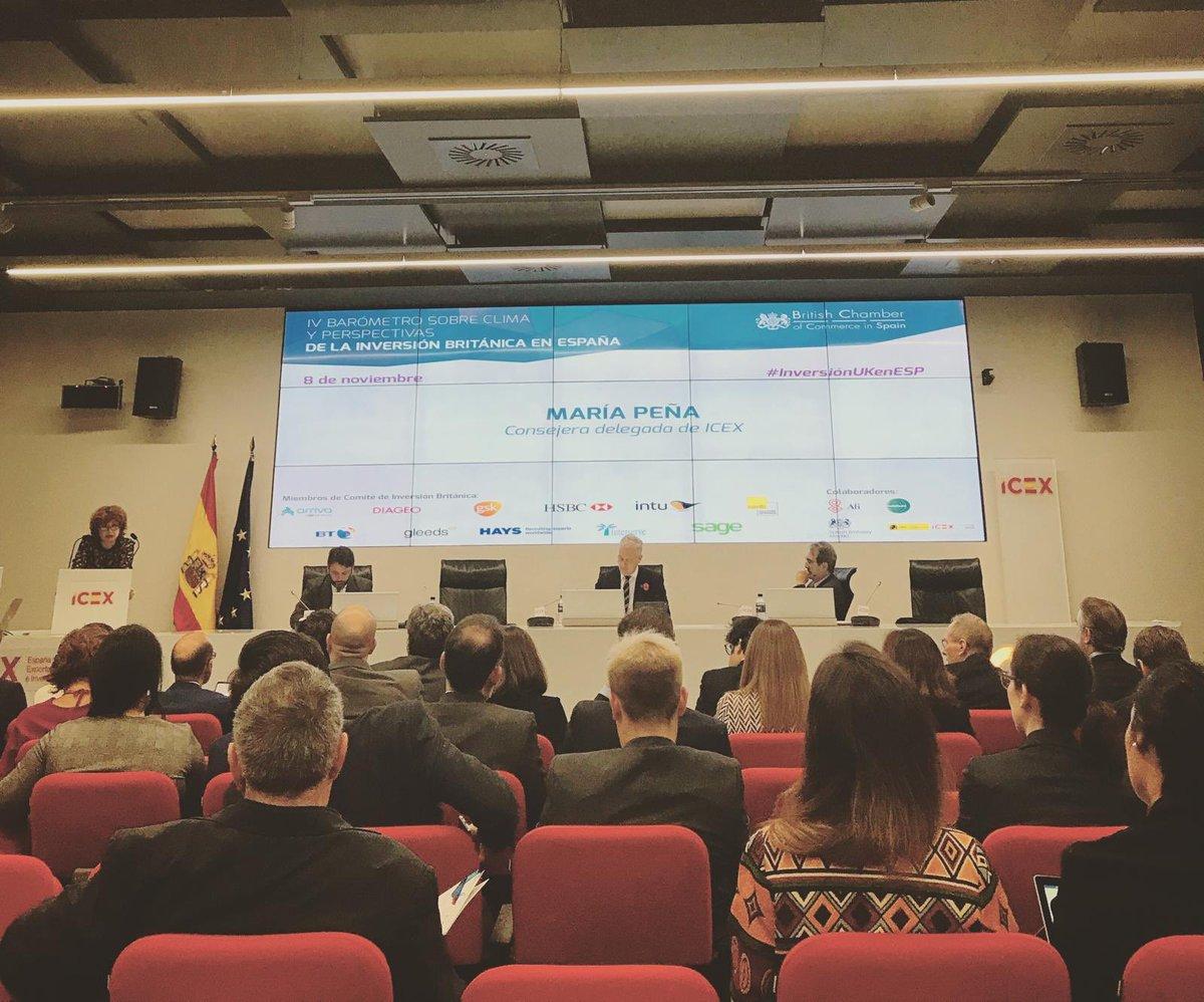 .@RyAComms asiste a la presentación del IV Barómetro sobre clima y perspectivas de la inversión británica en España de la @britchamberESP en la sede de @ICEX_ #inversionUKenESP