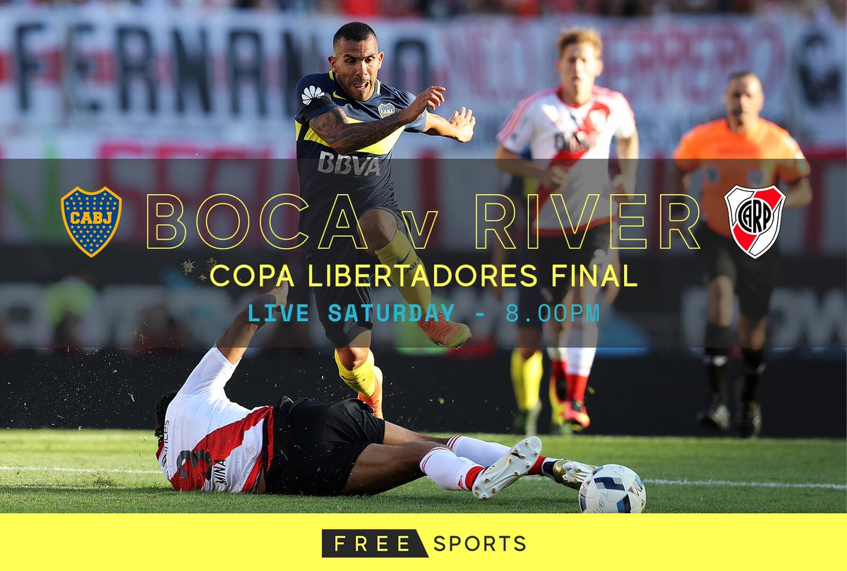 ⚽ We are delighted to announce FreeSports will have #LIVE & #FREE coverage of the 2 leg Superclásico Copa Libertadores Final between Boca Juniors & River Plate 🇦🇷  The first leg is this Saturday 10th November at 8PM 🙌  #CopaLibertadores @BocaJrsOficial @CARPoficial