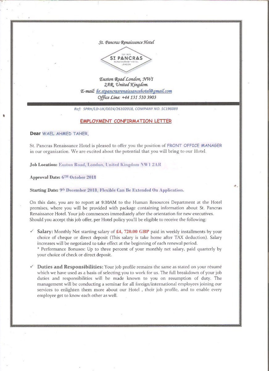 hotel confirmation letter