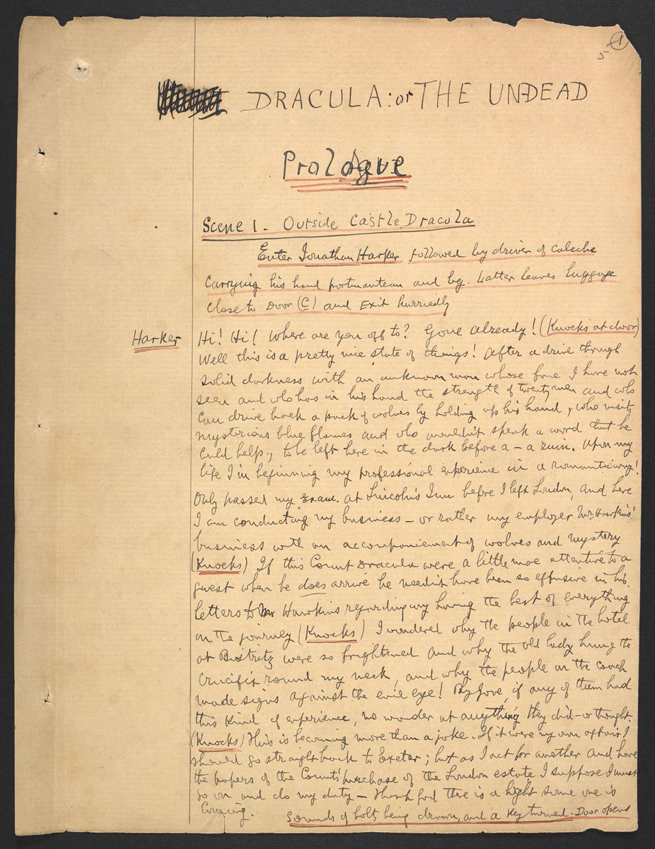 Bram Stoker was born #otd in 1847. This Dracula playscript features Stoker's handwriting and an increasing number of printed extracts from the novel, indicative of the haste at which it was produced in order to protect the dramatic rights to the book https://t.co/J6m5aQdQVv
