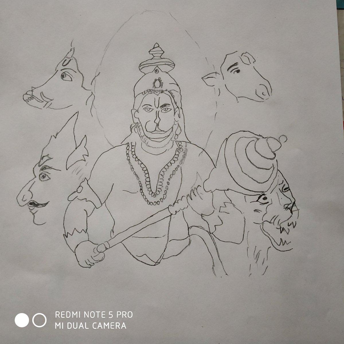 Kalyug ka krishan on twitter karanacharya7 bhai my attempt to draw panchmukhi hanuman ji this diwali please have a look pencil sketch and thn