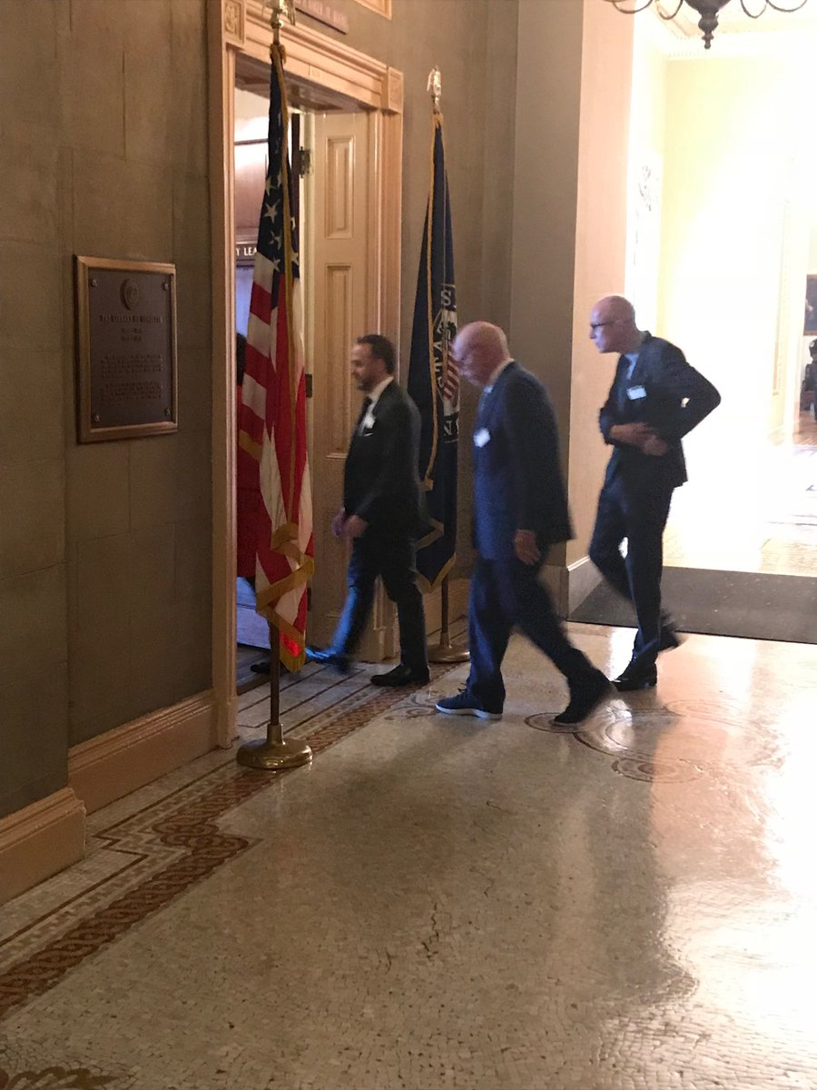 An empty Capitol, but Mitch McConnell is receiving visitors. Rupert Murdoch in this case.