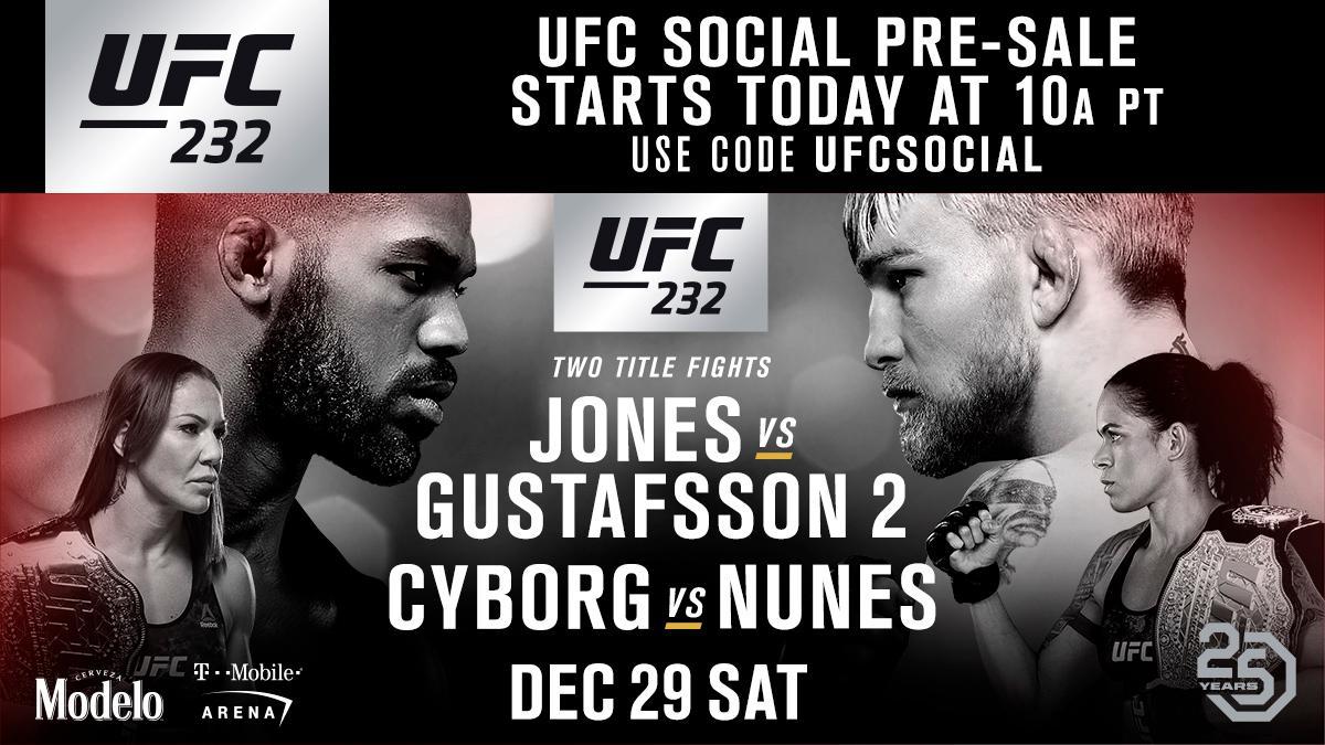 TWO title fights in Las Vegas!  The UFC social pre-sale is LIVE for #UFC232 ➡️ https://t.co/jE4ZKGMC8l https://t.co/AKnXbm1nnQ