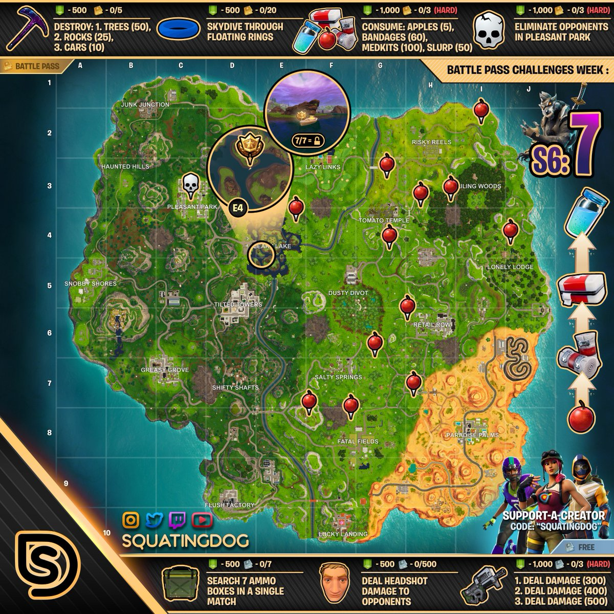 free challenges - fortnite challenge map season 6