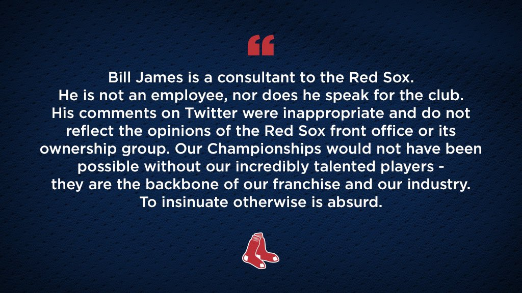 The #RedSox Statement Regarding Bill James' Recent Remarks: