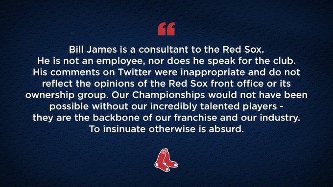 The #RedSox Statement Regarding Bill James' Recent Remarks: Photo