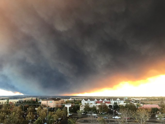 Well that escalated quickly. The #CampFire as seen from Chico this morning. Photo