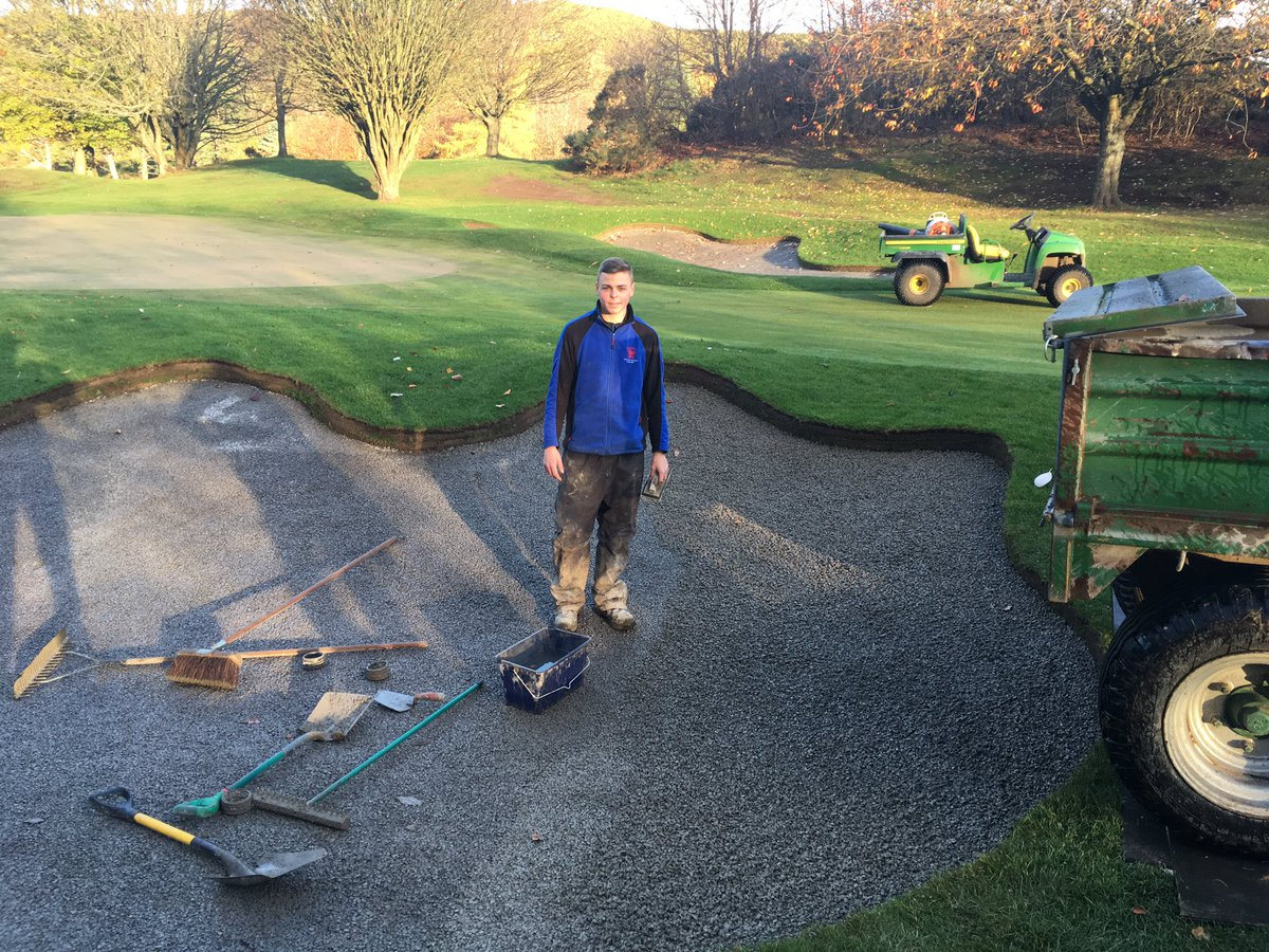 test Twitter Media - Mortonhall apprentice green keeper Gary Brown proudly shows off the teams good work. Capillary Concrete now complete in all 23 bunkers of phase 1 of the Course Improvement Project. Now, just the sand to install and we are done! https://t.co/sB6sazr68D