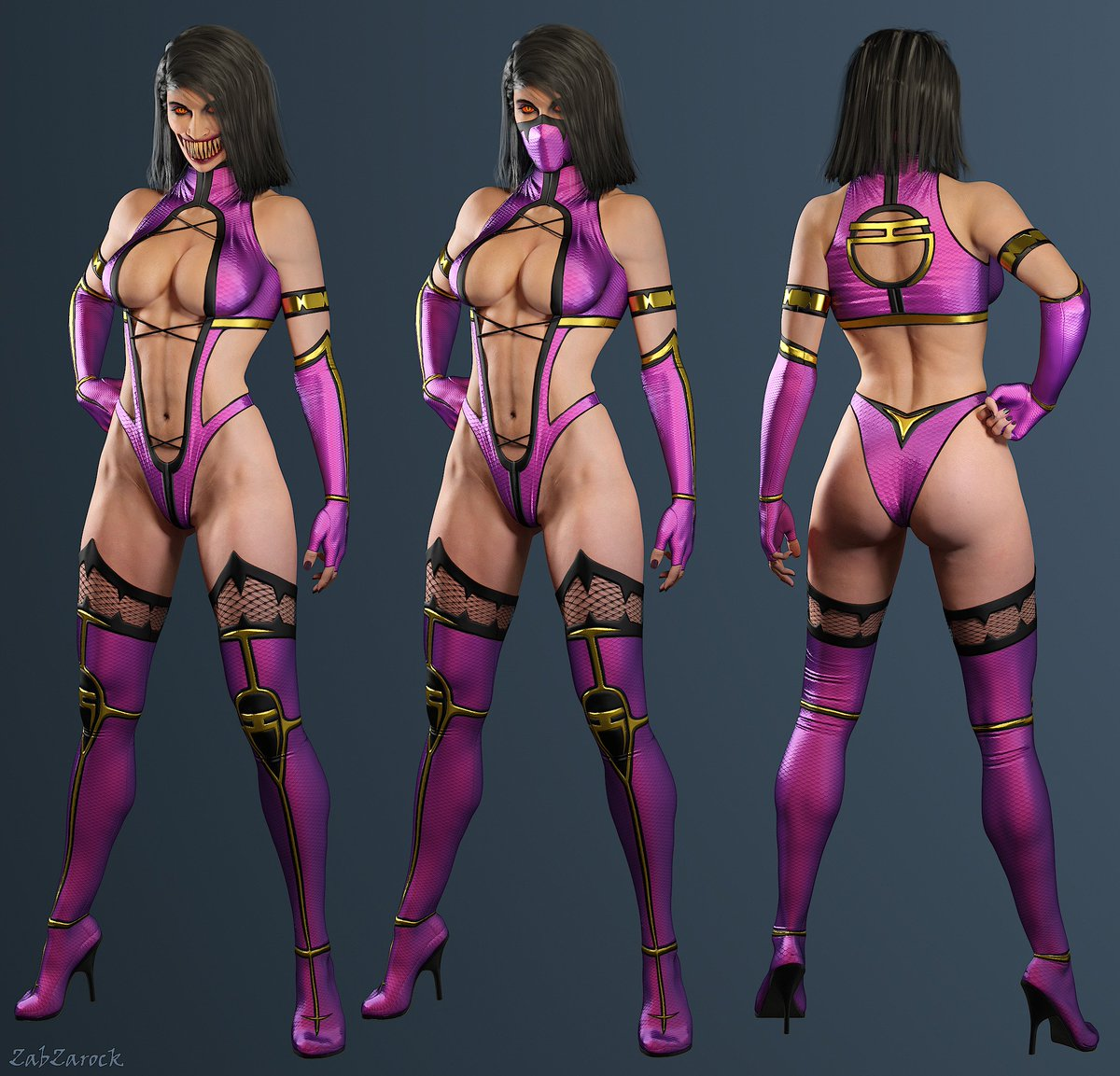 My MK9 Mileena&#39;s 3D model is finally completed ^^ I have also quickly made a custom version of her costume :D HD artworks here -&gt;  http:// fav.me/dcri9bg  &nbsp;   ,  http:// fav.me/dcri9je  &nbsp;    #MortalKombat #mileena #Blender3D <br>http://pic.twitter.com/33zwh1OvAq