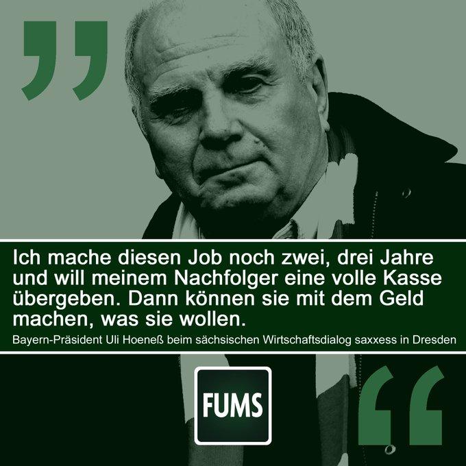 Schocknachricht aus München: #Hoeneß noch zwei, drei weitere Jahre im Amt. #FCBayern ____ Fast übergeben: @fums_magazin Foto