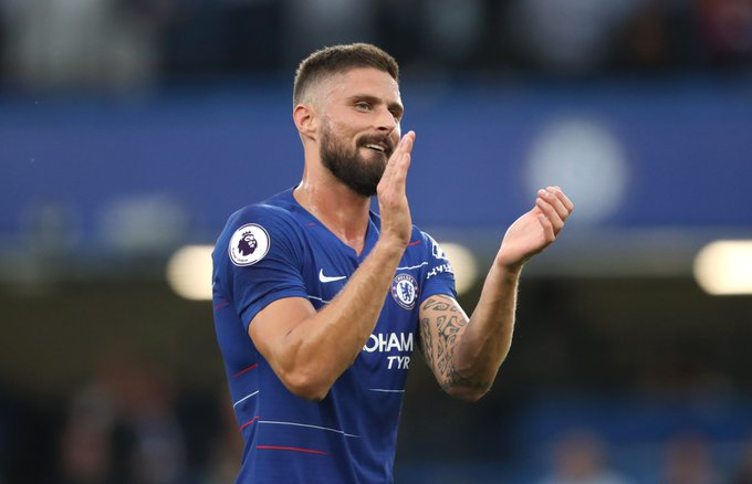 Oliver Giroud has scored his first goal for Chelsea since May. His first goal under Maurizio Sarri. Photo