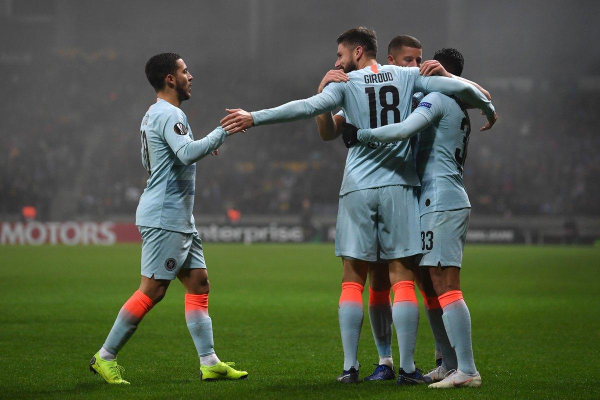 Los jugadores del Chelsea festejan un gol ante el BATE.
