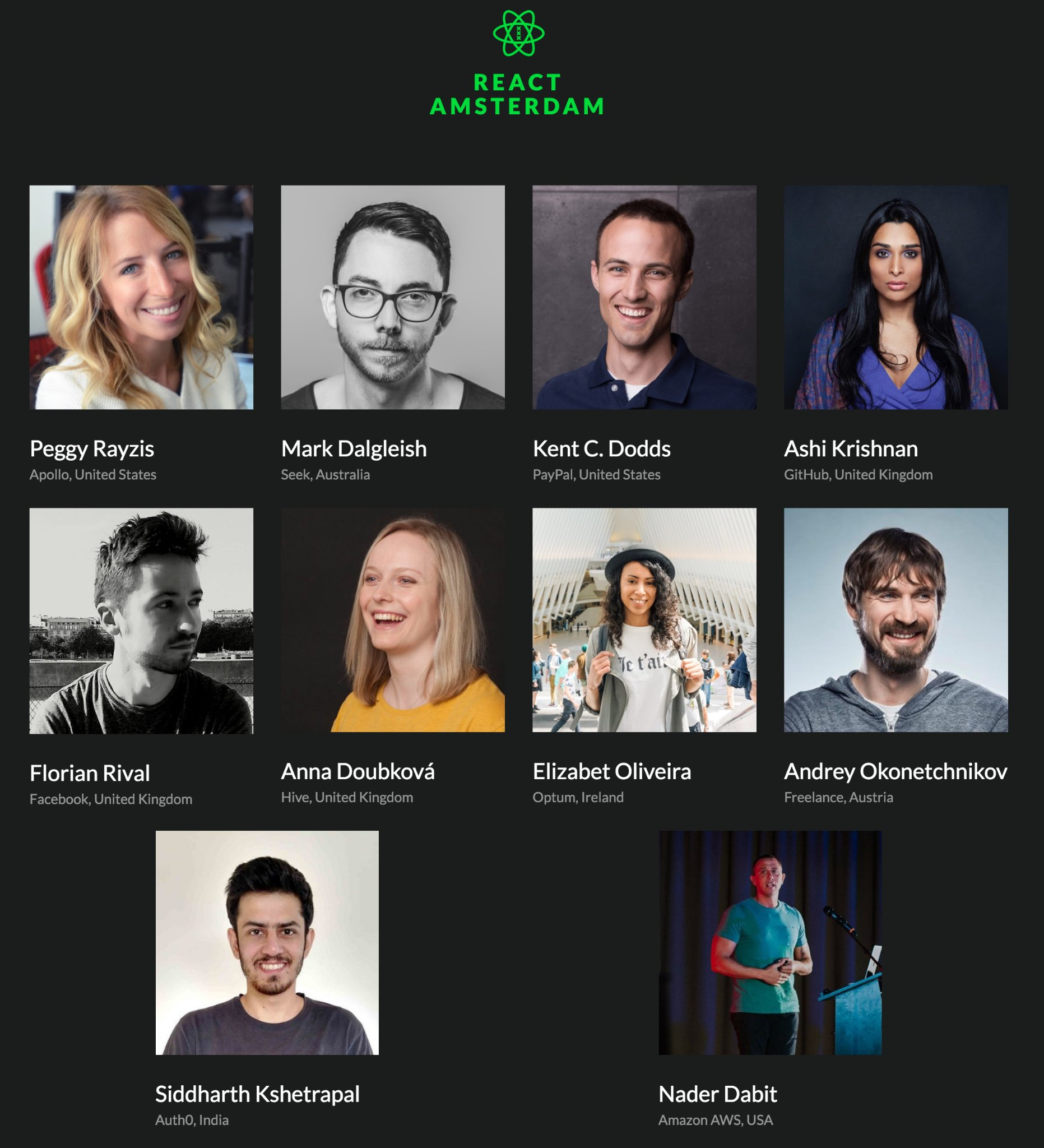 list of speakers on the react Amsterdam website