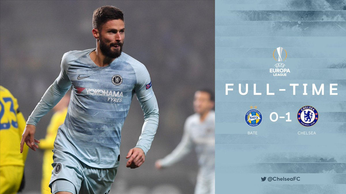 Full-time and job done! 🙌  That's 4/4 in the Europa League, and a place in the round of 32 secured.  's header proving decisive in Belarus. 👌    #BATEvCFC