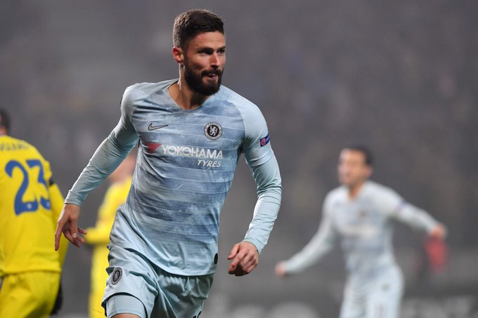 Football: Giroud heads Chelsea past BATE in Europa League, Rangers lose thriller at Spartak Photo