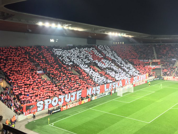 """LOVE TO SLAVIA IS CONNECTING US"" Great mosaic from Slavia fans again! #slafck @EuropaLeague Photo"