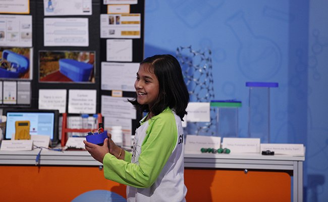Young scientist @gitanjaliarao is uniting creativity and innovation with her lead detection device: #NationalSTEMDay Photo