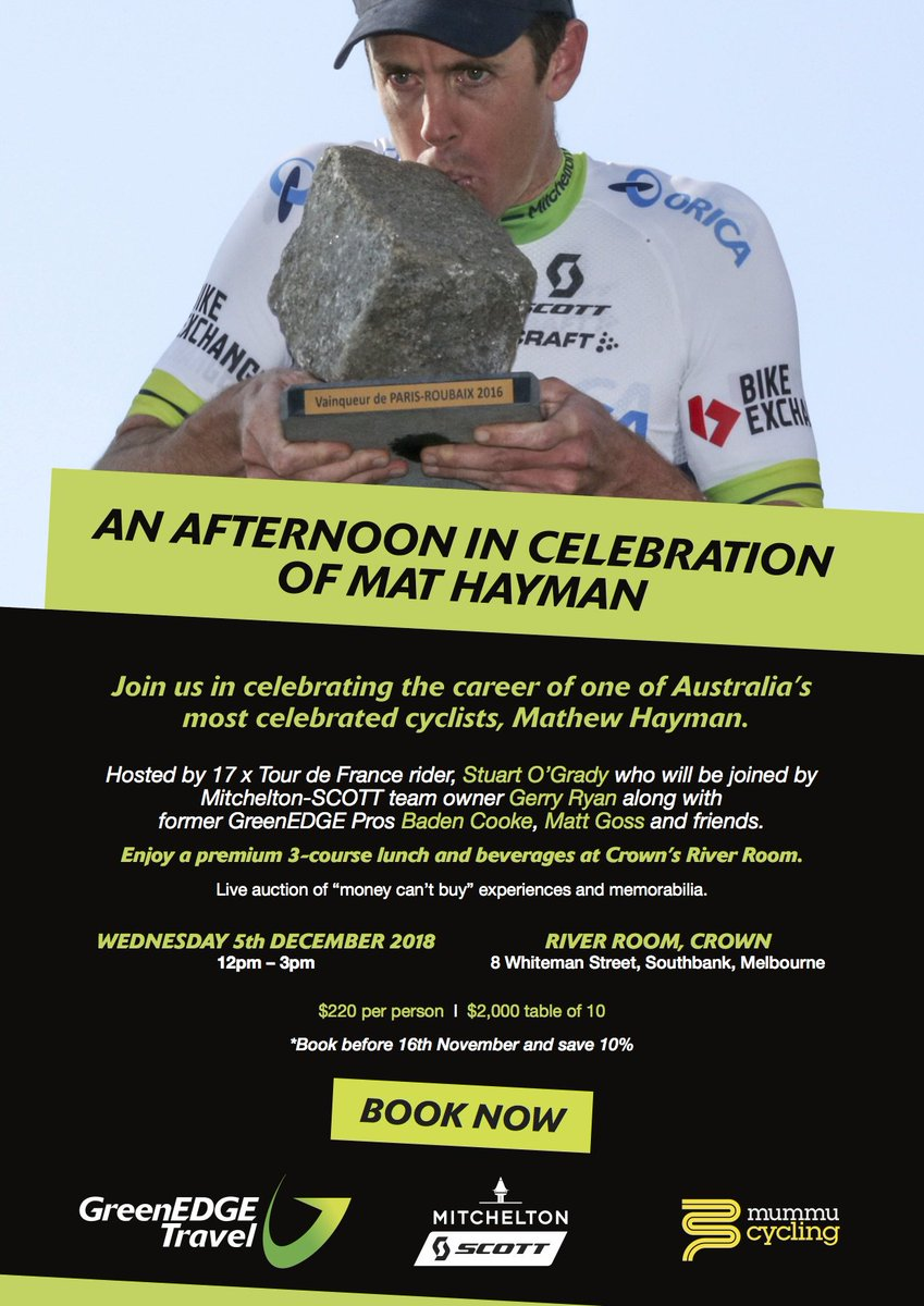 Join us this December to celebrate the career of Australian pro cyclist + Paris Roubaix 2016 champ @Mathew_Hayman ! Kick back over lunch + beverages while hearing stories from Mathew & former team mates of the peloton from his successful + lengthy career!  https://t.co/yoJtA8f5Ou https://t.co/0Xri1AnOQw