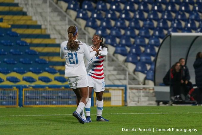 1️⃣st international goal for Jess McDonald 5️⃣0️⃣0️⃣th victory for #USWNT A look at what went down today in Portugal 👇 📷: @joerdeli1 Photo