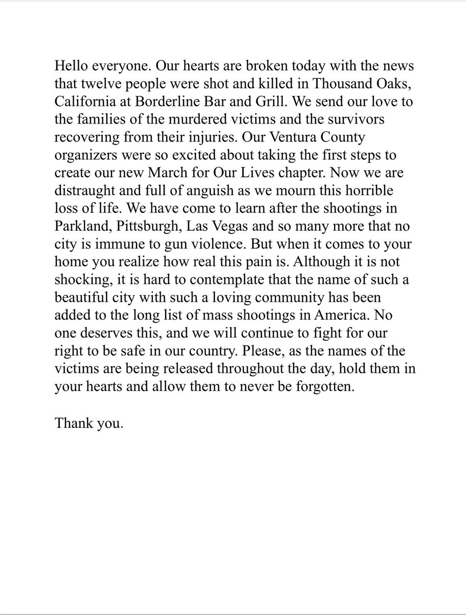 Please keep our community in your hearts today 🧡. #thousandoaks #clustrong
