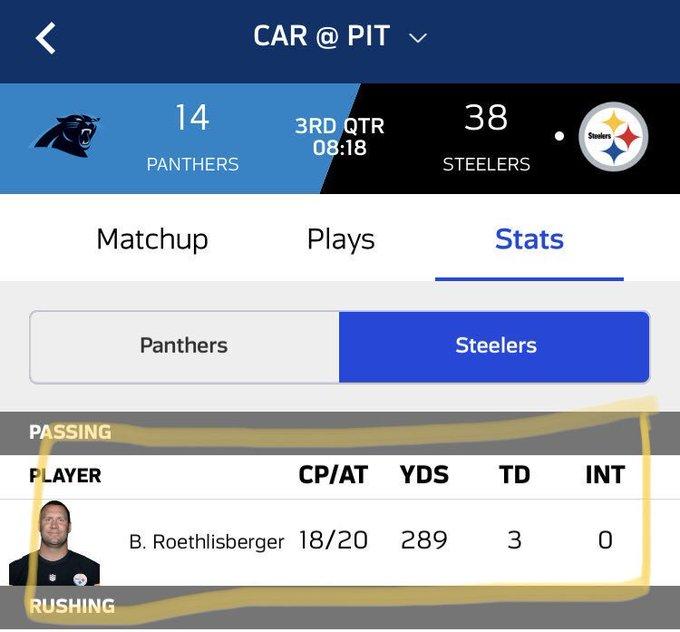 🏈#NFL|| Los números de Big Ben esta noche. 👀 Ben Roethlisberger tiene sólo dos pases incompletos.🔥🔥 #HereWeGo Photo