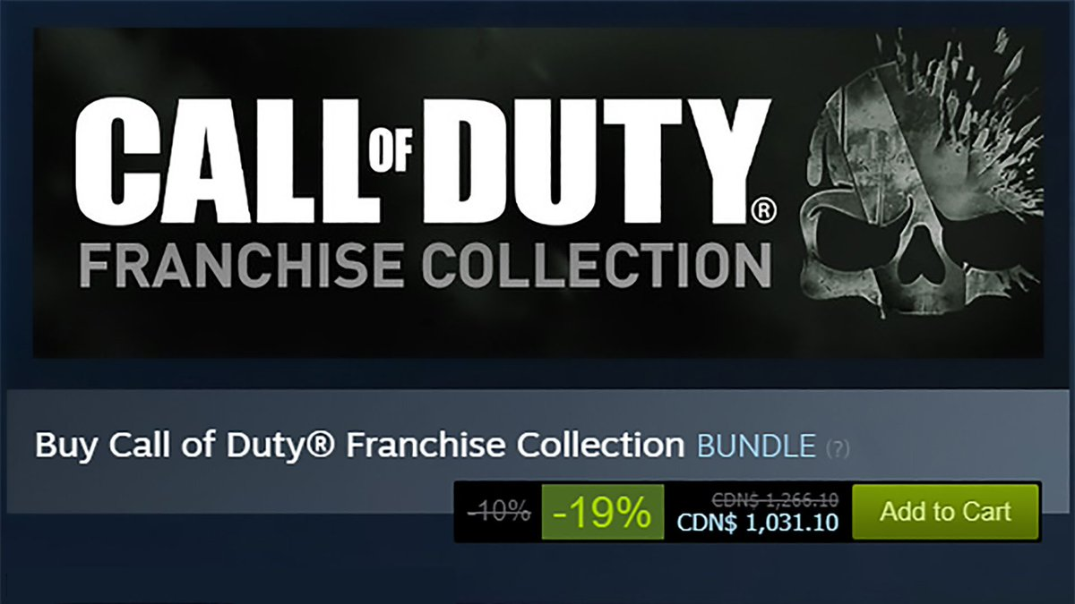 @pcgamer: You can own every Call of Duty game on Steam for the low, low price of $1,000 https://t.co/IRk5rdcAAI https://t.co/LhdPLcg9pQ