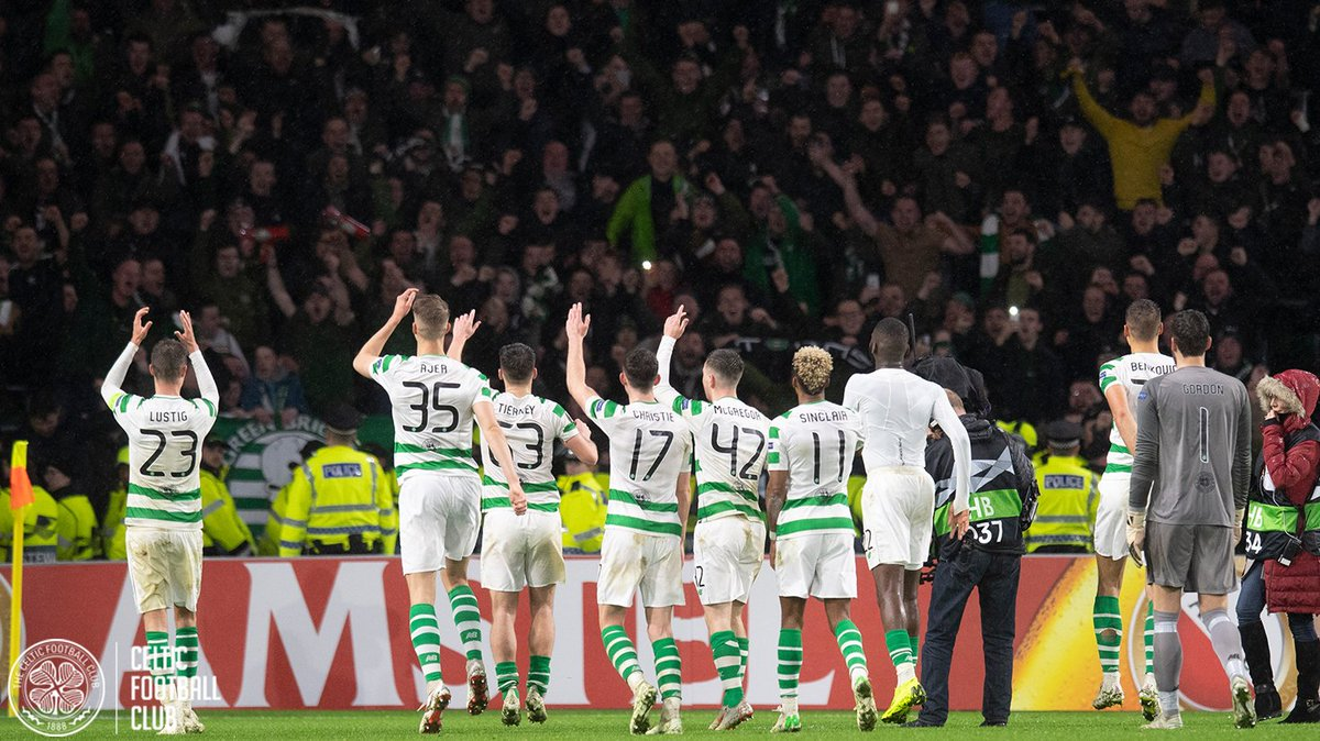 RT @CelticFC: Pre-match: 😍 Post-match: 😍  Scenes all round in Paradise tonight! 🕺💚  #CELRBL #UEL https://t.co/4v4rw41hUA