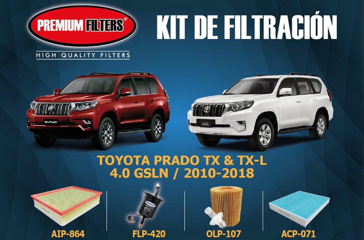 """Premium Filters SAS على تويتر: """"KIT DE FILTROS TOYOTA PRADO TX Y TX-L.  Encuéntralos en https://t.co/YahOImZ3Eh @ToyotaCol #filtrosdecalidad… """""""