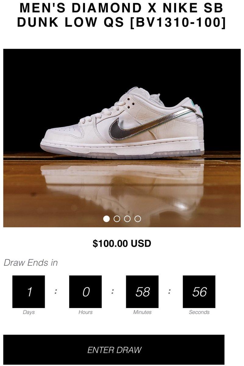 34857f60ee Nike SB Dunk Low Pro x Diamond Supply Co. online draw open via Renarts  White https://bit.ly/2PKkS0c Black https://bit.ly/2PPR6a8  #snkr_twitrpic.twitter.com/ ...
